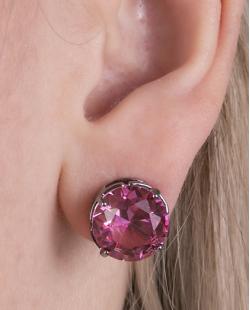 Kit colar mais brinco de metal grafite com pedra raibow rosa Vallie