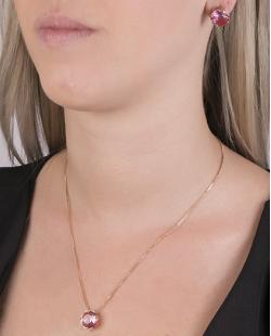 Kit colar mais brinco de metal dourado com pedra raibow rosa Vallie