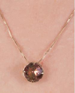 Kit colar mais brinco de metal dourado com pedra raibow melancia Vallie