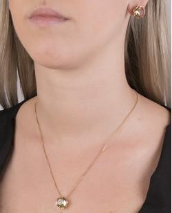Kit colar mais brinco de metal dourado com pedra raibow arco-íris Vallie