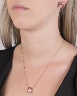 Kit colar mais brinco de metal dourado com pedra raibow rosa Jennifer