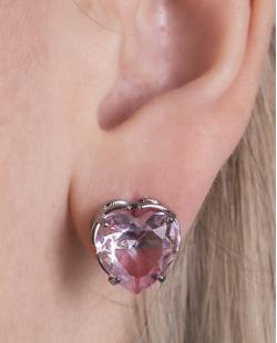 Kit colar mais brinco de metal grafite com pedra raibow rosa Hilary