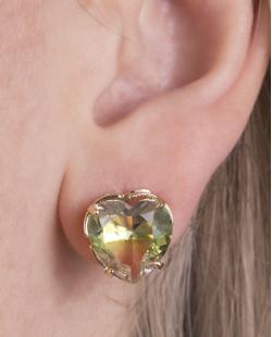 Kit colar mais brinco de metal dourado com pedra rainbow  arco-íris Hilary