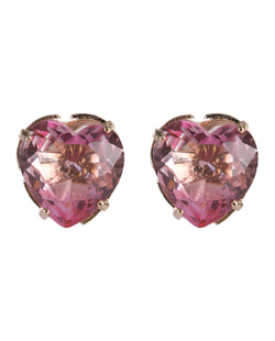 Brinco pequeno de metal dourado com pedra rainbow rosa Tiffany
