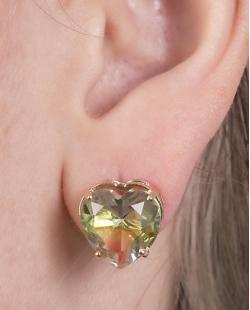 Brinco pequeno de metal dourado com pedra rainbow arco-íris Tiffany