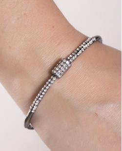Bracelete de metal  grafite com strass cristal Cindy
