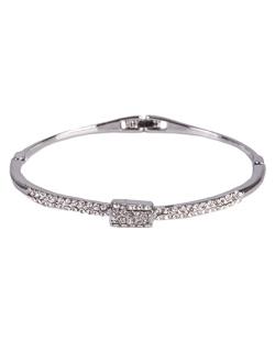 Bracelete de metal  prateado com strass cristal Cindy