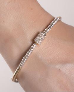 Bracelete de metal  dourado com strass cristal Cindy