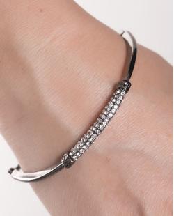 Bracelete de metal grafite com strass cristal Donna