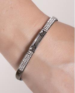 Bracelete de metal grafite com strass cristal Grace
