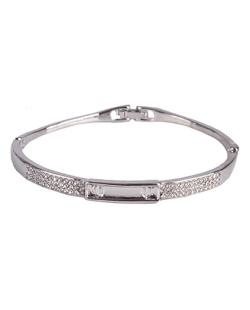 Bracelete de metal prateado com strass cristal Grace