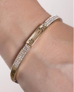 Bracelete de metal dourado com strass cristal Grace