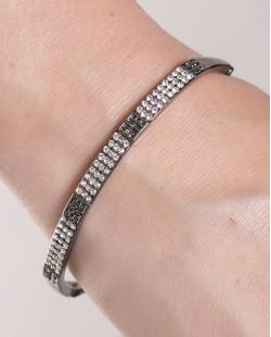Bracelete de metal grafite com strass cristal Kimberly