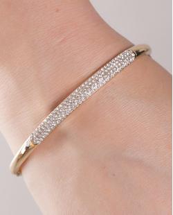 Bracelete de metal dourado com strass cristal Amalia