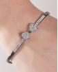 Bracelete de metal grafite com strass cristal Beverly