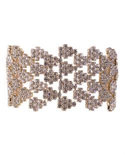 Pulseira de metal dourado com strass cristal Charlotte