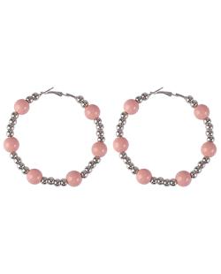 Brinco argola de metal prateado com bolas rosa Melinda