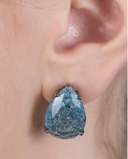 Kit colar mais brinco de metal grafite com pedra fusion azul Maria
