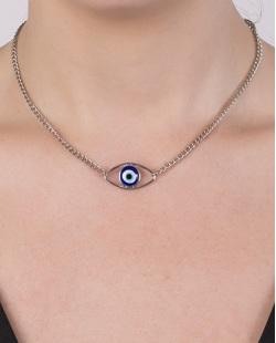 Gargantilha chocker de metal prateado com pedra azul Manuela