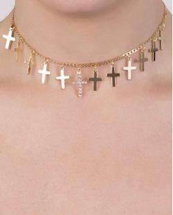 Gargantilha chocker de metal dourado com strass cristal Olivia