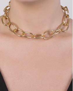 Gargantilha chocker de metal dourado Leah