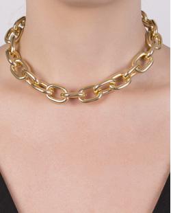 Gargantilha chocker de metal dourado Lina