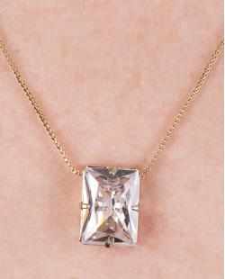 Colar de metal dourado com pedra cristal Agatha