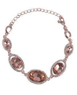 Pulseira de metal dourado com pedra rosé Lindsay