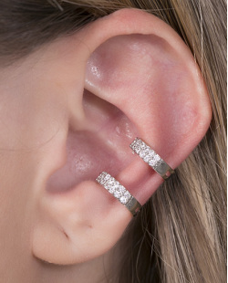Piercing fake prateado com strass cristal Laura