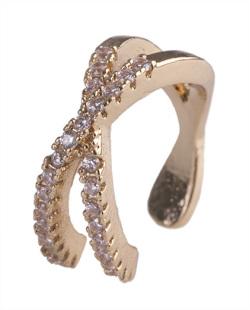 Piercing fake dourado com strass cristal Dallas