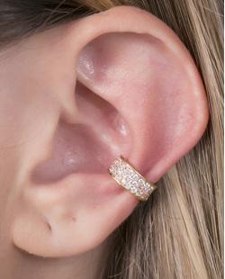 Piercing fake dourado com strass cristal Boston