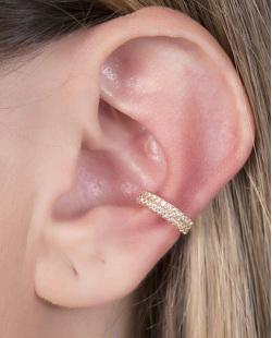Piercing fake dourado com strass cristal Cleveland