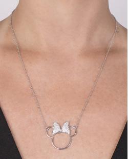 Colar de metal prateado com strass cristal Minnie