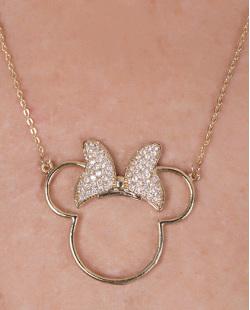 Colar de metal dourado com strass cristal Minnie