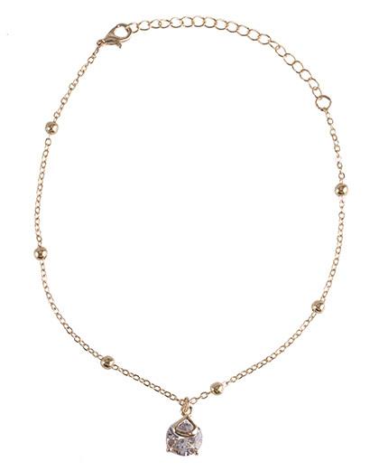 Tornozeleira de metal dourado com pedra cristal Iza