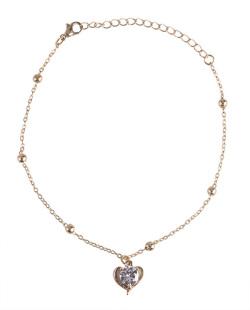 Tornozeleira de metal dourado com pedra cristal Carly