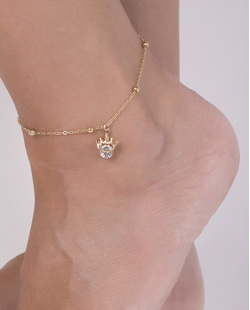 Tornozeleira de metal dourado com pedra cristal Sam