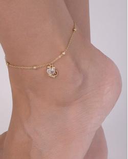 Tornozeleira de metal dourado com pedra cristal Clau