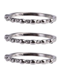 Anel de metal prateado com strass cristal Juju