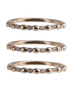 Anel de metal dourado com strass cristal Juju