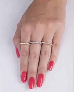 Kit de anel metal dourado, rosé e prata com strass cristal Bia