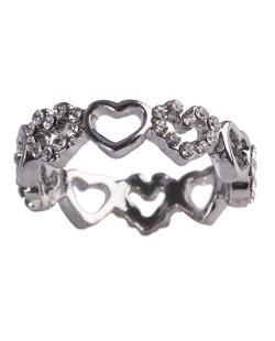 Anel de metal prateado com strass cristal Kiara
