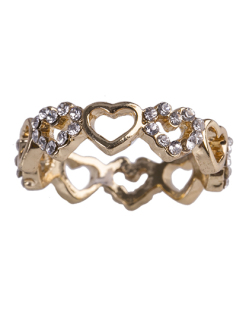 Anel de metal dourado com strass cristal Kiara