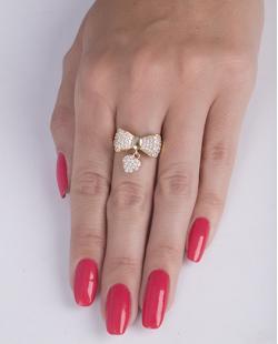 Anel de metal dourado com strass cristal Bella