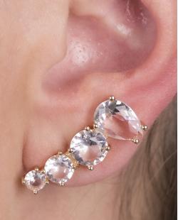 Ear cuff de metal dourado com pedra cristal Alabama