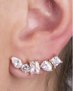 Ear cuff de metal dourado com pedra cristal Flórida