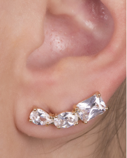 Ear cuff de metal dourado com pedra cristal Geórgia