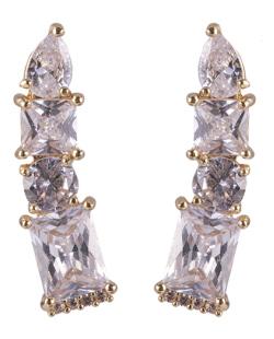 Ear cuff de metal dourado com pedra cristal Mississippi