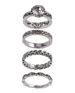 Kit de 4 anéis de metal prateado com pedra cristal Merced