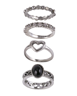 Kit de 4 anéis de metal prateado com pedra preta Tustin